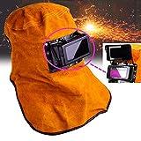 Leather Welding Helmet Mask Solar Auto Darkening Filter Lens Welder Helmet