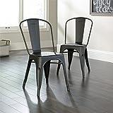 Sauder New Grange Cafe Chair in Matte Black (Set of 2)