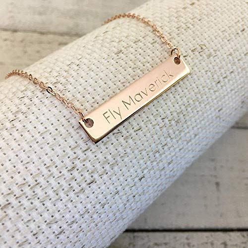 Ship Same Day Til 2:00 EST,Mother's day gift,Personalized Name Bar Necklace - Engraved necklace,Christmas gift, Custom Jewelry, Rose gold plated,silver name bar pendant,Holiday Gift,gift for - Holiday Pendant