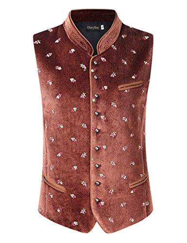 (GloryStar Men's Casual Velvet Vest Button up Stand Collar Embroidery Waistcoat for German Bavarian Oktoberfest and Lederhosen Dark Coffee 2XL)