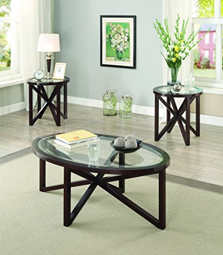 - Coaster Home Furnishings Natalia 3-piece Occasional Table Set Cappuccino and Clear