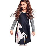 Baby Girls Dresses for 0-6 Years Old,  Xinantime Toddler Spring Horse Stripe Print Princess Dress Party Dress Clothes (8Y, Navy)