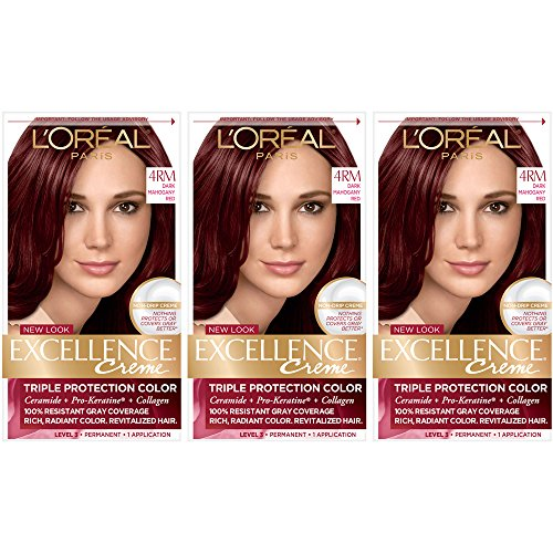 L'Oreal Paris Excellence Creme Permanent Hair Color, 4M Dark Mahogany Red (Pack of 3)