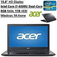 Acer Aspire Flagship High Performance 15.6 HD Display Laptop PC | Intel Core i7-6500U Dual-Core| 2.50 GHz| 8GB RAM| 1TB HDD| DVD+/-RW| Bluetooth| WIFI| Ethernet| Windows 10 Home (Black)