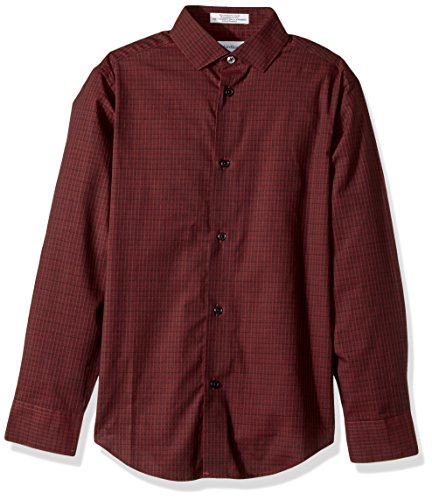 Calvin Klein Big Boys' Long Sleeve Gingham Woven Shirt, Norton Dark Red, 14 (Calvin Long Sleeve Dress Shirt)