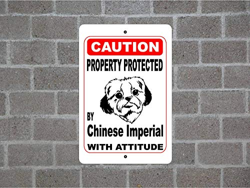 Fhdang Decor Property Protected by Chinese Imperial Guard Dog Warning Yard Fence Breed Metal Aluminum Sign,Metal Sign 8