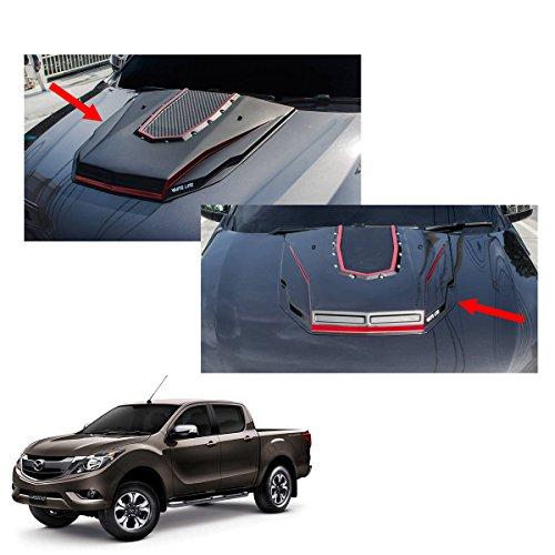 Powerwarauto Bonnet Hood Scoop Cover Matte Black Red Nuts Trim 1Pc Trim For Mazda Bt50 Pro 2Dr 4Dr 2012 2013 2014 2015 2016 2017 2018