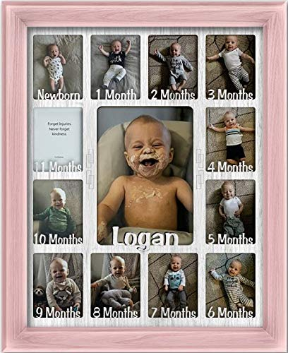 Northland Baby First Year Personalized Frame - Holds Twelve 2.5'' x 3.5'' Newborn Photos and 5'' x 7'' One Year Picture, Navy Frame, White Insert, Customizable with Any Name by Northland Frames