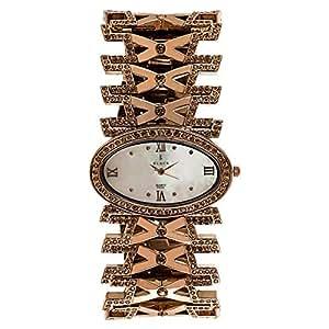 Black Royale Women's Silver Dial Brass Band Watch - 10581LSBB