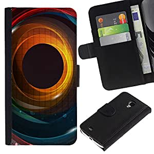 Ihec-Tech / Flip PU Cuero Cover Case para Samsung Galaxy S4 Mini i9190 MINI VERSION! - Cool Abstract Colour Iris Eye Hole Spiral