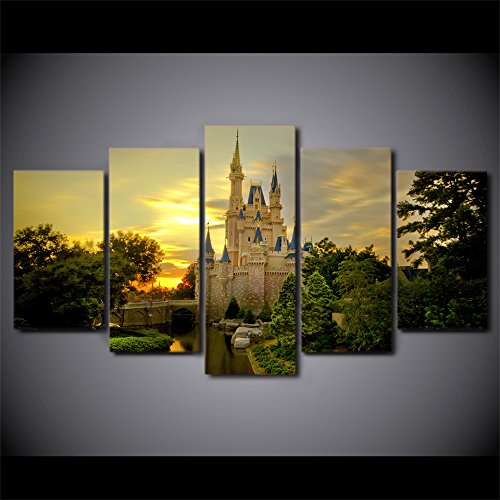 WNIUN ART 5 Pieces Printed cinderella castle Paintings Wall Art Canvas Modular Living Room Bedroom Poster Picture Home Decoration,size 1,With framed -