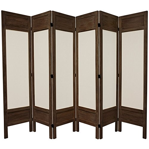 Oriental Furniture 5 1/2 ft. Tall Solid Frame Fabric Room Divider - Burnt Brown - 6 Panel