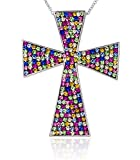 Carly Creations Women's Silver Plated Genuine Crystal MultiColored Cross Pendant - Large