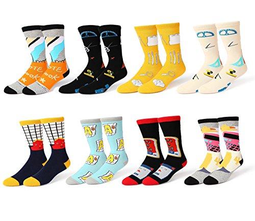Men's Novelty Colorful Dress Trouser Socks Classic School Patterned Cotton Crew ()