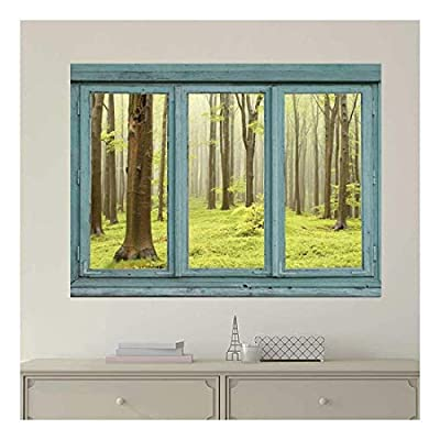 Vintage Teal Window Looking Out Into a Green Foggy Forest - Wall Mural, Removable Sticker, Home Decor - 24x32 inches