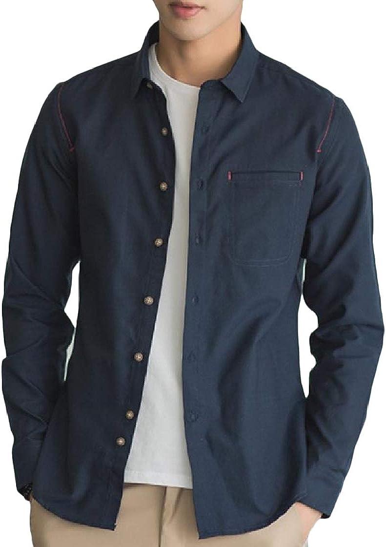 YUNY Men Plus-Size Long-Sleeve Lapel Button Pocket Pure Color T-Shirts Shirt Pattern1 XL
