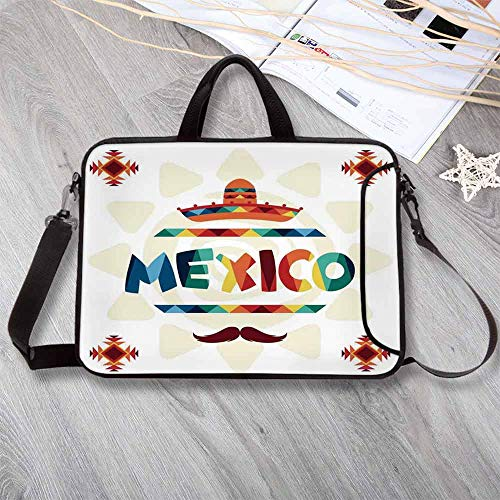 "Mexican Decorations Waterproof Neoprene Laptop Bag,Mexico Traditional Aztec Motifs and Sombrero Straw Hat Moustache Graphic Laptop Bag for Business Casual or School,8.7""L x 11""W x 0.8""H"