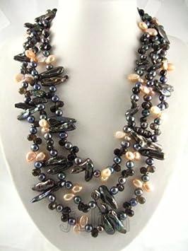 23'' Black Crystal 10mm Black Freshwater Pearl Necklace J014