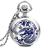 JewelryWe Christmas Gift Mens Porcelain Case Dragon Pocket Watch Dangle Pendant Necklace Quartz Arabic Numbers Gift Chain (with Gift Bag)