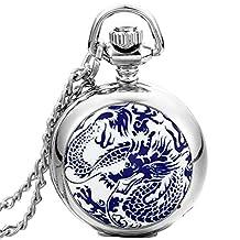 JewelryWe Mens Porcelain Case Dragon Pocket Watch Dangle Pendant Necklace Quartz Arabic Numbers Gift Chain