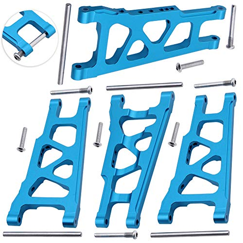 Hobbypark Front / Rear Aluminum Suspension Arms w/Screw pins Replacement of 3655x for RC Traxxas 1/10 Slash 4x4 4WD Stampede 4x4 Rally XO-1 Option Hop Ups (4-Pack) (Blue)
