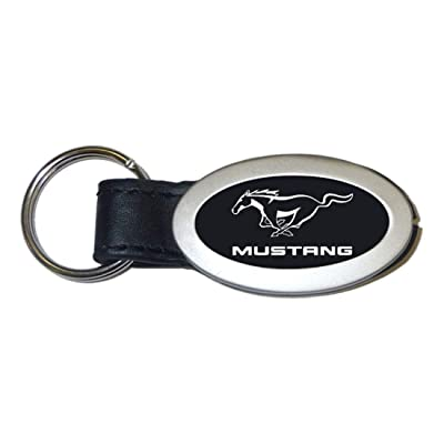 Au-Tomotive Gold, INC. Ford Mustang Black Oval Leather Key Fob Authentic Logo Key Chain Key Ring Keychain Lanyard: Automotive
