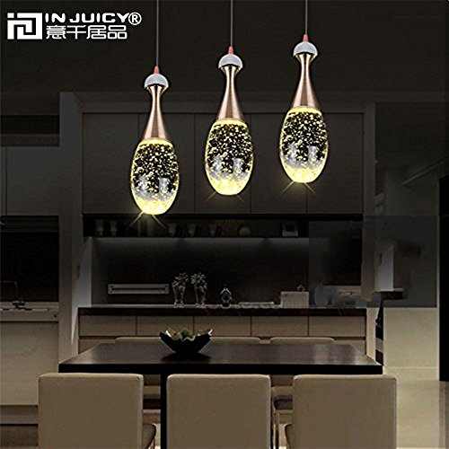 Injuicy Lighting Modern Luxury Crystal Bubble Perfume Bottle Pendant Lights Fixtures American Led Pendant Lamps for Cafe Bar Dining Rooms Restaurants Living Room Bedrooms Gift (3 Head Rectangle Plate) by Injuicy (Image #6)