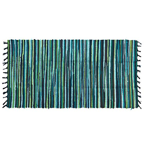 (Ojia Cotton Reversible Rag Rug Hand Woven Multi Color Striped Chindi Area Rug Entryway for Laundry Room Kitchen Bathroom Bedroom Dorm(2 x 3ft,Green))