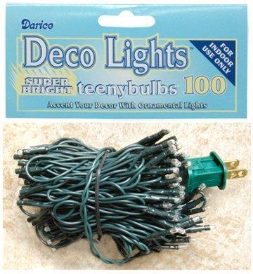 Teeny Bulbs Mini Light Strand Green Cord Country Primitive Craft Décor