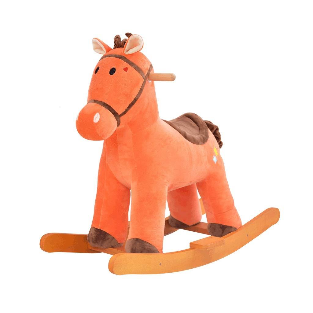 Schaukelpferd Plüsch Kind Fahrt auf Spielzeug mit Musikfunktion Geeignet für Kinder im Alter von 1-3 Im Innen- und Außenbereich erhältlich Orange 76  32  63cm xiuyun