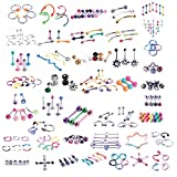 BodyJ4You 120 PCS Body Piercing Lot Belly Ring Tongue Eyebrow Tragus Barbells 14G 16G RANDOM Mix