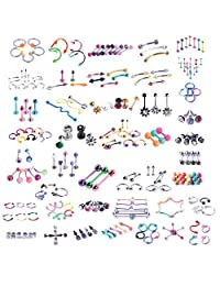 BodyJ4You 120PCS Body Piercing Lot Belly Ring Tongue Eyebrow Tragus Barbells 14G 16G Random Mix