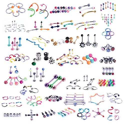 Body Jewelry Pierce Eyebrow Ring - BodyJ4You 120 PCS Body Piercing Lot Belly Ring Tongue Eyebrow Tragus Barbells 14G 16G Random Mix