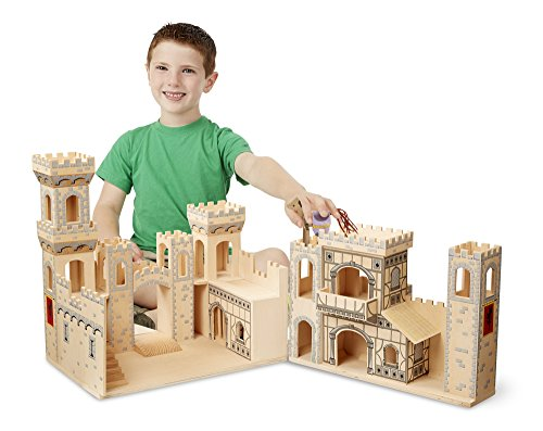 Melissa-Doug-Deluxe-Folding-Medieval-Wooden-Castle-Hinged-for-Compact-Storage