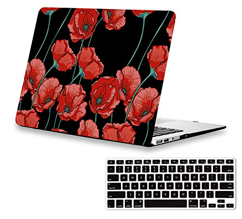 (13 inch MacBook Air Case Floral MacBook Air Case with Red Flowers, A1466 MacBook Air Case Soft-Touch Protective Hard Case Shell with Keyboard Cover and Vented Holes for MacBook Air)