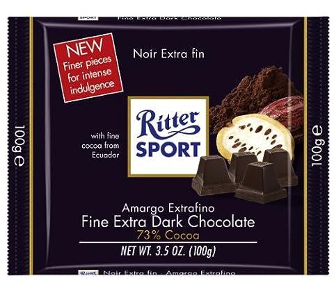 Ritter Sport Extra Fine Dark Chocolate 73% (9/3.5oz) - Cocoa Extra Dark Chocolate