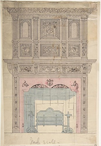 Antique Grates (Drawing | Anonymous, British, 19th Century | Design for Fireplace and Grate | Antique Vintage Fine Art Print Reproduction 08in x 12in)