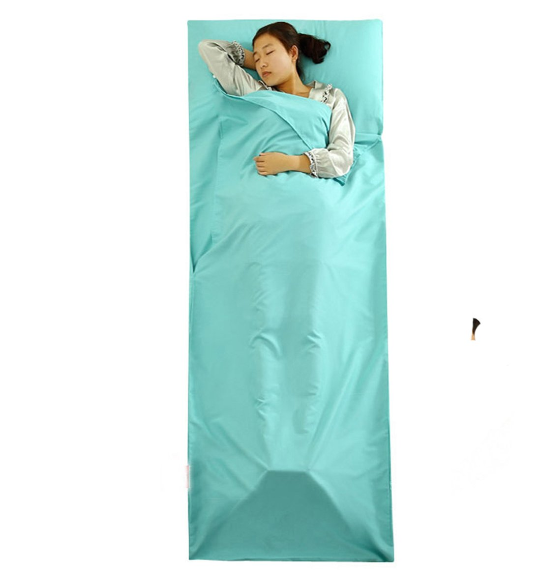 Hi Suyi軽量ポータブル単一SleepsackキャンピングシートSleepingバッグライナーfor CampアウトドアHostel Planes列車旅行210 x 75 cm B072R4ND28 ブルー ブルー