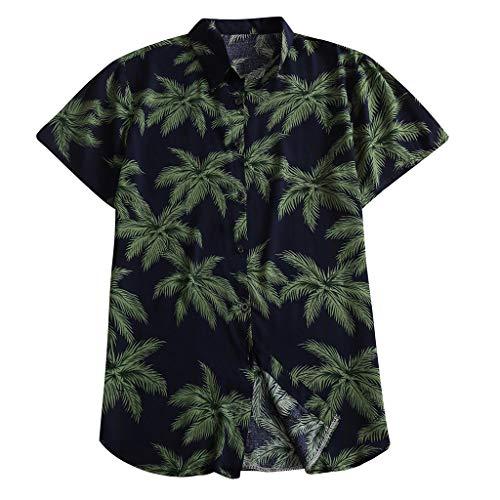 FONMA Fashion Men's Casual Button Print Hawaii Print Beach Short Sleeve Top Blouse Navy -