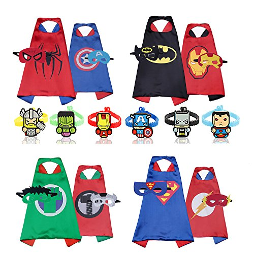 RioRand Cartoon Dress Up Double-sided Costumes 4pcs Capes 8 pcs Masks 6pcs Wristbands (4PCS Double-Sided)