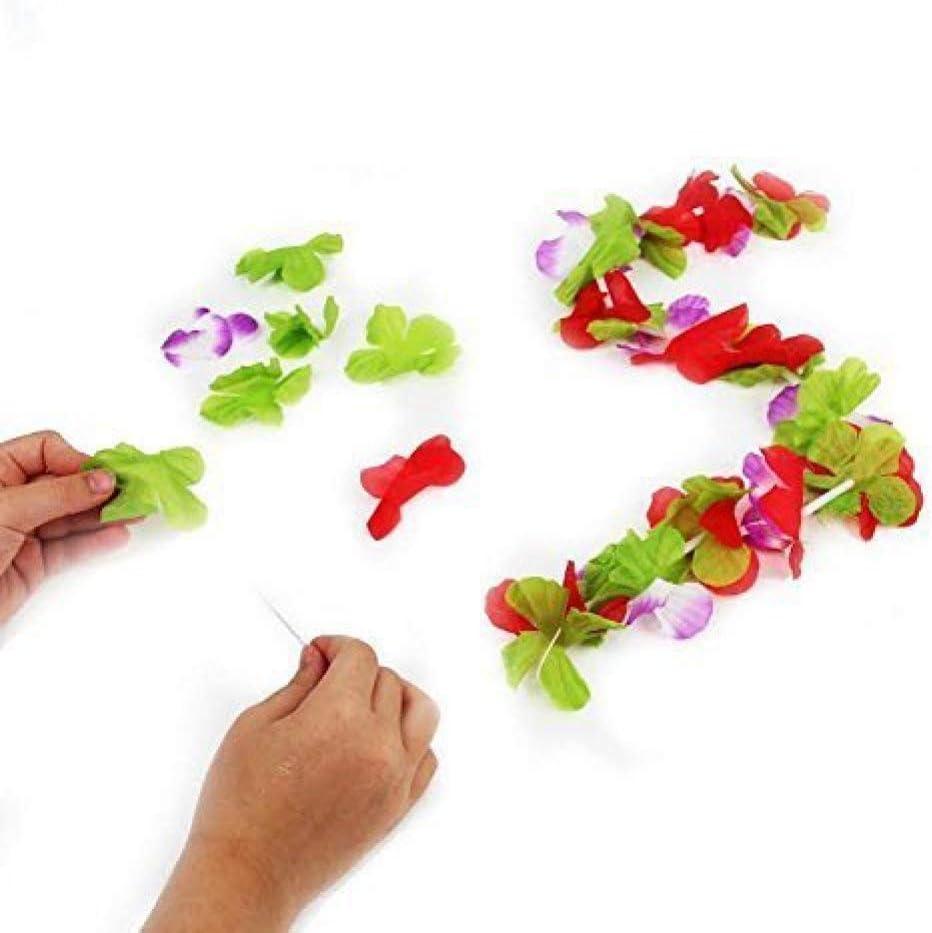 12pk Assorted Silk Flower Leis Hawaiian Luau Tropical Graduation Beach Favors