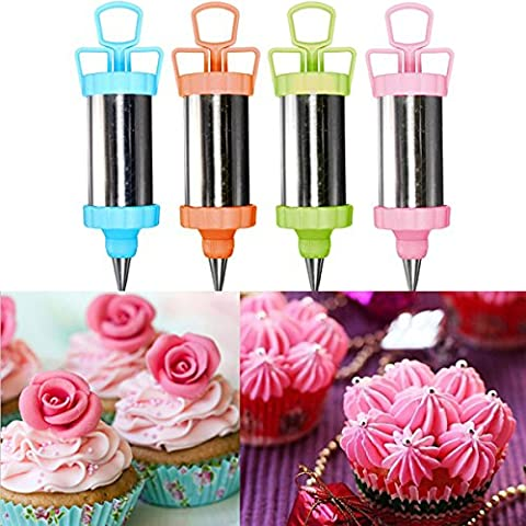Stainless Steel Cake Decoration Nozzles Pastry Icing Piping Syringe Gun Set(Random: Color) - 18 Ml Palette