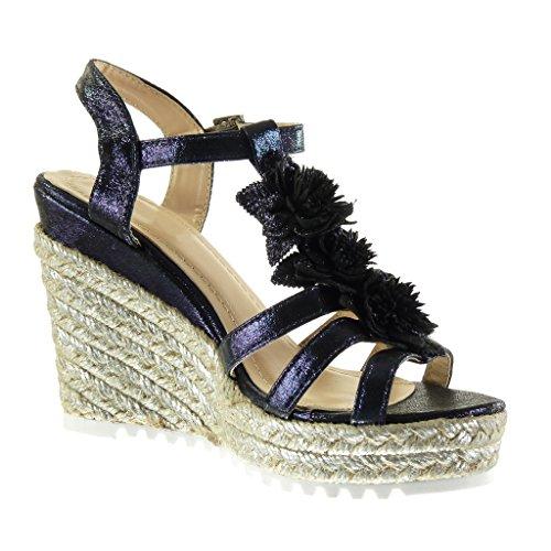 Angkorly Damen Schuhe Sandalen Mule - Knöchelriemen - Plateauschuhe - Blumen - Seil - Glänzende Keilabsatz High Heel 11.5 cm - Blau