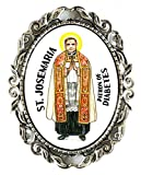 St Josemaria Patron of Healing Diabetes Huge 2'' Antique Silver Pin Brooche