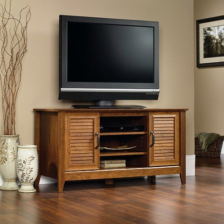 Tv Stand Media Credenza, 2 Adjustable Shelves, Cord Management, Extra Space, Open And Closed Storage, Perfect For Entertainment Room, Living Room, Den, Bedroom, Cherry Finish + Expert Guide