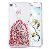 "iPhone 6S Case,iPhone 6 6S Bling Glitter Case,PHEZEN Real Pressed Flower Girl Backside Pattern Shiny Glitter Flexible Soft Rubber Gel Clear TPU Silicone Back Case for iPhone 6/6S 4.7"" (Red)"