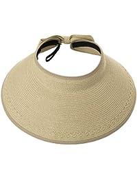 f6fdd836617436 Rollup Straw Sun Visor Foldable Wide Brim Travel Hat Freesize Ponytail  Fashion