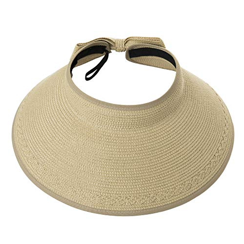 Womens Ladies Summer Beach Fashion Back Visors Roll Up Floppy Ponytail Sun Protection Open Top Straw Bow Hats Beige
