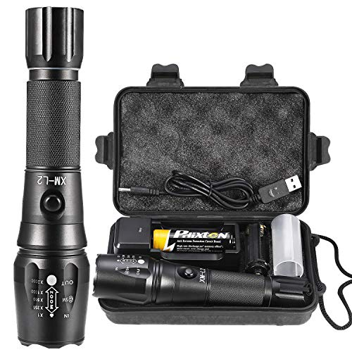 Rechargeable Tactical Flashlight High Lumens LED Torch Powerful Handheld Big L2 Water Resistant Adjustable 5 Modes Portable Metal Flash Light 5000mAh 18650 Battery Charger USB Cable Gift Box Included (Best Tactical Led Flashlight 2019)