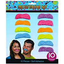 "Awesone 80's Party Assorted Color Mustaches Accessory, Fabric, 2"", Pack of 10"